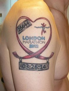 Extremely proud of running the London Marathon, so proud he's had his number and time etched forever.