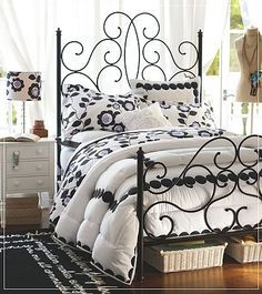 Almost bought this comforter...love the black and white and especially the headboard!! #pbteen