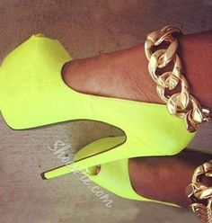 Shoespie - Shoespie Gorgeous Yellow Coppy Metal Chain Ankle Strap Platform Shoes - AdoreWe.com