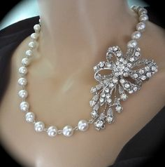 White pearl necklace  Crystal rhinestone bow  by QueenMeJewelryLLC, $79.99