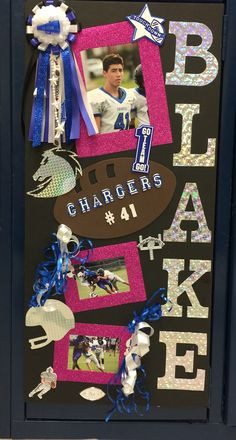 Graduation Poster Ideas Discover Its Homecoming Week! thing locker decorations I made this sign for my freshman player. I added pink for breast cancer awareness month. Volleyball Locker Decorations, Locker Room Decorations, Football Spirit, Football Cheer, Fall Football, Football Snacks, Football Stuff, Alabama Football, Football Season