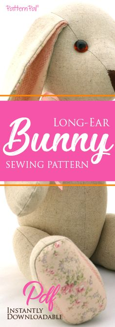 Sewing Stuffed Animals Long-ear Bunny Sewing Pattern - Say hello to this adorable stuffed bunny sewing pattern! It's jointed at the arms Animal Sewing Patterns, Doll Clothes Patterns, Sewing Patterns Free, Free Pattern, Pattern Sewing, Felt Patterns Free, Teddy Bear Sewing Pattern, Softie Pattern, Sewing Toys