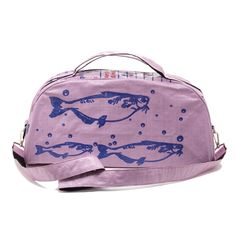 Pink recycled duffle bag.