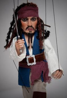 Johnny Depp as Captain Jack Sparrow marionette.