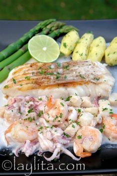 Grilled cod with seafood sauce recipe