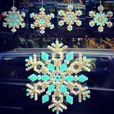 Snowflakes winter decorations hama beads by esther_fiberstar