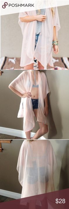 "Last 1💞Pink Boho Kimono Shawl So pretty and lightweight. Perfect for summer!  Lightweight Solid Kimono in a soft chiffon with Woven Chevron Trim boho accented trim.  70% Polyester 30% Viscose | Measures  33"" x 41 Accessories Scarves & Wraps"