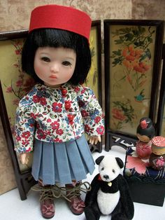 Instant Delivery 9 page pattern for an Asian wardrobe to fit 8 Ten Ping by Ruby Red Galleria or similar size doll. Full size patterns and instructions for 3 sizes of Kimono, school uniform (skirt, blouse, hat) long pants, playsuit, jacket, hat, and panties. My Patterns have no