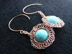Crocheted earrings with copper wire and turquoise beads on etsy.com at flowclothing Even hooks are handmade!