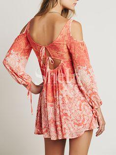 Vestido vintage hombro al aire-naranja 18.39