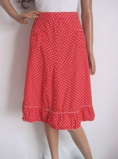 Vintage 1970s 50s Rockabilly Style Red & White Polka Dot Skirt available to buy online at Virtual Vintage Clothing £25