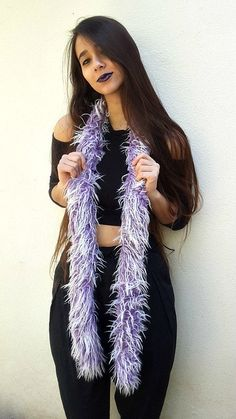 """Lovely fluffy faux fur purple scarf. / #faux_fur #boho #grunge #scarf / The long boa scarf, purple faux fur scarf that looks awesome as an addition to any look: from casual to evening boho chic, this is THE scarf to wear this winter!  Handmade with love and shaggy purple/white faux fur. Hand washable.  Measurements:  Length: 71"""" (180cm).  Width: 2.75"""" (7cm)."""