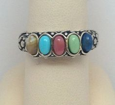 Carolyn Pollack Sterling Sincerely Southwest MultiColor 5 Stone Ring/Band Size 7 #CarolynPollack #Band