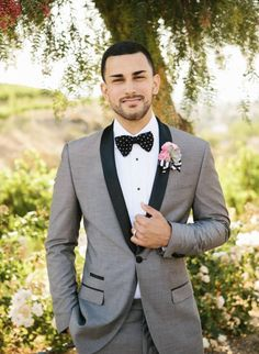 Shades of grey with bold lapels. Summer wedding suit ideas grooms #groom #suit