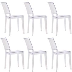 Fine Mod Imports Philippe Starck Style Ghost Clear Square Side Chair Set Of 6 Wooden Dining Room Chairs, Farmhouse Table Chairs, Restoration Hardware Chair, Ghost Chairs, Oversized Chair And Ottoman, Upholstered Chairs, Modern Classic, Side Chairs, Office Furniture