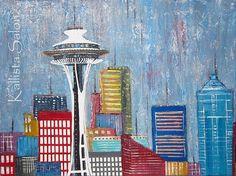 "#Seattle Skyline Acrylic Painting 18""x24"" Space Needle Urban #Art http://www.etsy.com/shop/KallistaSalon"