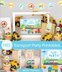 Transport Party Printables For Your Little Boy's BirthdayFree! Transport Party Printables For Your Little Boy's Birthday Second Birthday Ideas, 2nd Birthday, Unicorn Birthday, Unicorn Party, Auto Party, Car Party, Transportation Birthday, Cars Birthday Parties, Construction Birthday