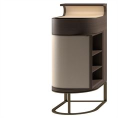 Sucupira or natural oak, leather top, recessed half-rounded rotating drawer, pull-out rotating box shelf, hidden LED illumination under top shelf, metal base frame.  Dimensions [W x D x H] in mm: 425 x 560 x 980 Cabinet Furniture, Table Furniture, Furniture Design, Box Shelves, Chinese Furniture, Low Cabinet, Console Table, Interior, Home Decor