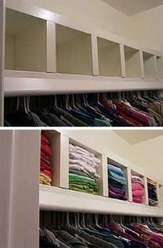 Space Savers: IKEA Hacks for Small Closets Saundra from Lil Lamb Lost used a LACK shelf to add an extra layer of shelving to her closet — and create a row of cubbies perfect for storing folded clothes. Ikea Lack Wall Shelf, Lack Shelf, Wall Shelf Unit, Wall Shelves, Ikea Shelves, Bedroom Shelving, Bedroom Storage, Bathroom Shelves, Ikea Closet Storage