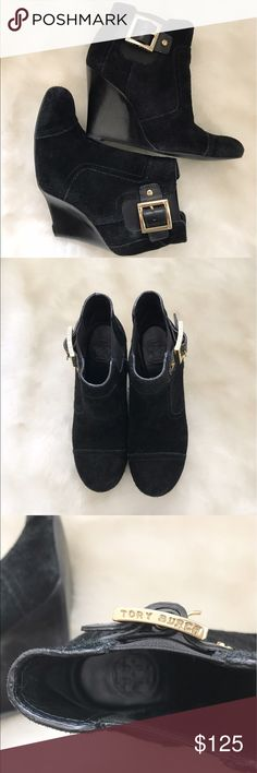 """Tory Burch Black Suede Wedge Booties 6.5 These are a pair of pre-loved Tory Burch """"Adrienne"""" black suede & leather wedge booties with gold hardware! These slip on booties are about 3.5"""" high. Size 6.5 and true to size 😃 Tory Burch Shoes Ankle Boots & Booties"""