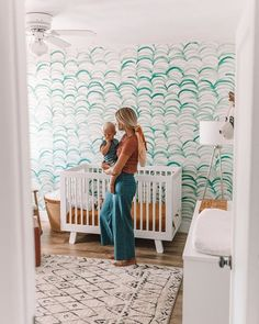I love making my kids rooms a special place for them. About a month ago we put up removable wallpaper in Sage's room. I love how happy his… Ocean Nursery, Boho Nursery, Nursery Neutral, Nursery Room, Coastal Nursery, Beach Theme Nursery, Baby Bedroom, Baby Boy Rooms, Baby Boy Nurseries