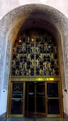 Circle Tower in Indianapolis, Indiana, was completed only eight years after archaeologist Howard Carter's sensational discovery of King Tutankhamen's tomb in 1922. The intricate bronze screen over the north entry arch reflects the widespread interest in Egyptology at the time. Sculptor Joseph Willenborg filled the bronze grille with hieroglyphic-like images, stylized into the Deco mode.