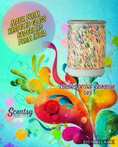 Made from recycled glass bracelets from India, Scentsy's 'Colors of the Rainbow' Warmer NEW for spring/summer 2017 www.amyoles.scentsy.us