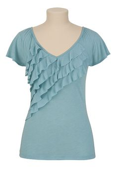 Heathered Ruffle Front V Neck - maurices.com