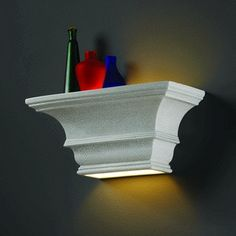 CanadaLightingExperts   Rectangular Concave W/ Glass Shelf Sconce