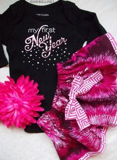 2ce7e611b first new years baby girl onesie outfit tutu skirt chevron my new year dress  pink christmas