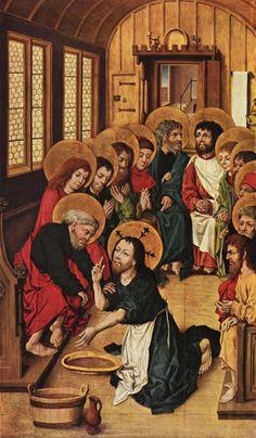 Maître du Livre de Raison (Hausbuchmeister, actif entre 1475 et 1490) : le lavement des pieds. Panneau gauche d'un retable de la Passion du Christ. Vers. 1475. Berlin, Gemäldegalerie.