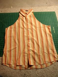 Apron Tutorial - From Men's Shirt to Apron I have an old shirt my mom gave me after my dad died that's just been in my closet the past 8 years. Now I know just what I'm going to do with it!