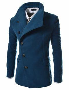 TheLees Men's Unbalance High Neck Slim Pea Coat