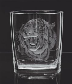 Nature 2268, hand cut and engraved vase, motif The Tiger » Moser glassworks - Luxury Bohemian Crystal Glass