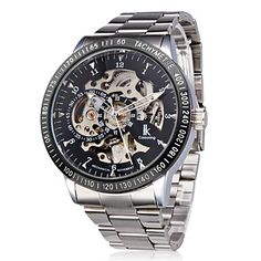 Men's Auto-Mechanical Self-Winding Hollow Engraving Silver Alloy Band Analog Wrist Watch – USD $ 21.99