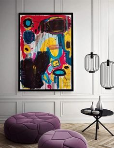 This modern and exclusive #colorful #abstract wall art #painting is unique, from my collection of #CMYK colors or basic colors. This abstract #expressionist original artwork was hand painted with acrylics, pencils, gouache and ink on lithography paper. 110cm x 77cm x 5cm (30″ x 43) Mandala Artwork, Abstract Wall Art, Original Artwork, Original Paintings, Small Art, Colorful Paintings, Gouache Painting, Retro Art, Vintage Posters