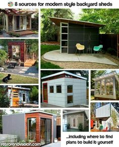 8 Sources for midcentury modern sheds - prefab, DIY kits, and plans - Retro Renovation Backyard Office, Backyard Studio, Backyard Sheds, Backyard Landscaping, Landscaping Ideas, Midcentury Modern, Midcentury Sheds, Modern Chairs, Design Tropical