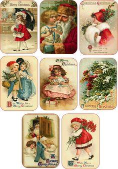 Christmas Vintage Child Santa Pictures on Cards Scrapbooking Crafts Set of 8 | eBay