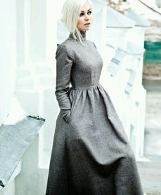 Gray flannel long sleeve dress