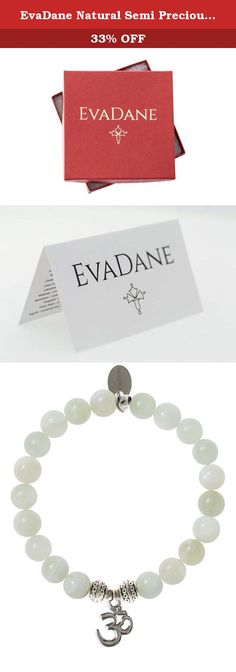 EvaDane Natural Semi Precious Moonstone Gemstone Tibetan Bead Om Charm Stretch Bracelet - Size 8 Inch ( 1_MOO_S_T_OM_8). Each EvaDane piece is made from unique materials ensuring your bracelet is one of a kind. Slight variations in the beads may occur due to the natural aspects of the element. This EvaDane Moonstone bracelet is prismatic and deflects negativity, while promoting clam and encouragement in the wearer. The Om charm represents loving kindness, compassion, sympathetic joy and...