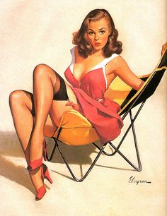 1960 | Artist: Gil Elvgren - I have a chair just like this, but I don't look this cute in it lol