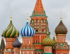 St. Basil's Cathedral, Moscow, Russia.  Gorgeous colors!