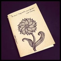 Illustrated notebook cover, zentangle design. Diy notebook A6 on recycled paper. Zenflower #06