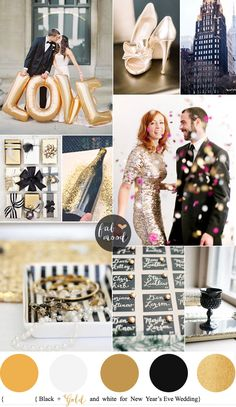 New Year's Eve Wedding Colours { Black Gold and White } fabmood.com