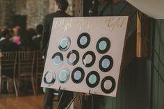 Pastel Vinyl Table Plan | Lace Charlie Brear Wedding Dress | Barn Wedding | Pastel Flowers | DIY Decor | Lavender Dessy Bridesmaid Dresses | Images by Millie Benbow Photography | http://www.rockmywedding.co.uk/kiera-iain/