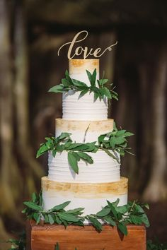 Country Wedding Cakes Four Tier Round White Rustic Wedding Cake with Hand Painted Gold Detail and Greenery on Wooden Cake Stand - Garden Inspired Sarasota Wedding Gay Wedding Cakes, Wedding Cake Stands, Wedding Cake Designs, Wedding Reception Planning, Outdoor Wedding Venues, Wedding Ideas, Outdoor Ceremony, Wedding Inspiration, Floral Wedding