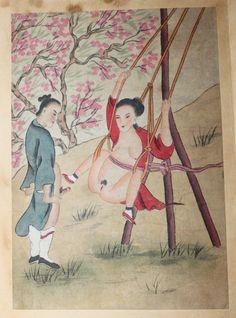 [CHINE] ALBUM ÉROTIQUE CHINOIS DE 5 GRANDES AQUARELLES LIBRES.    Chine, fin XIXe siècle - début XXe siècle