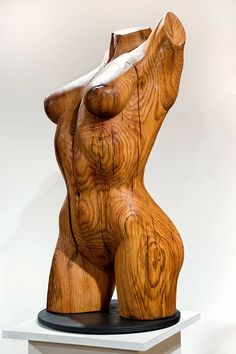 "Wood Nymph Sculpture - ""Dryad 1"" - Hand Carved Oak - 14"" X 34"""