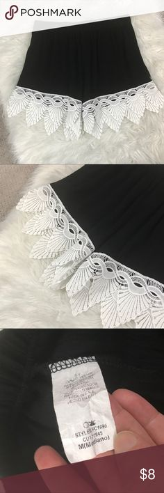 Boho Comfy Shorts Here's a crazy cute pair of boho comfy shorts in a size medium! Love the black gauzey like fabric and the white boho trip! Absolutely adorable! And in great condition! Shorts