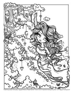 Free Sample Coloring Page - She Believed so She Became - Original Fantasy Artwork Coloring Books by Hannah Lynn! Blank Coloring Pages, Mermaid Coloring Pages, Printable Adult Coloring Pages, Coloring Books, Hannah Lynn, Creation Art, Artist Trading Cards, Kawaii, Fantasy Artwork